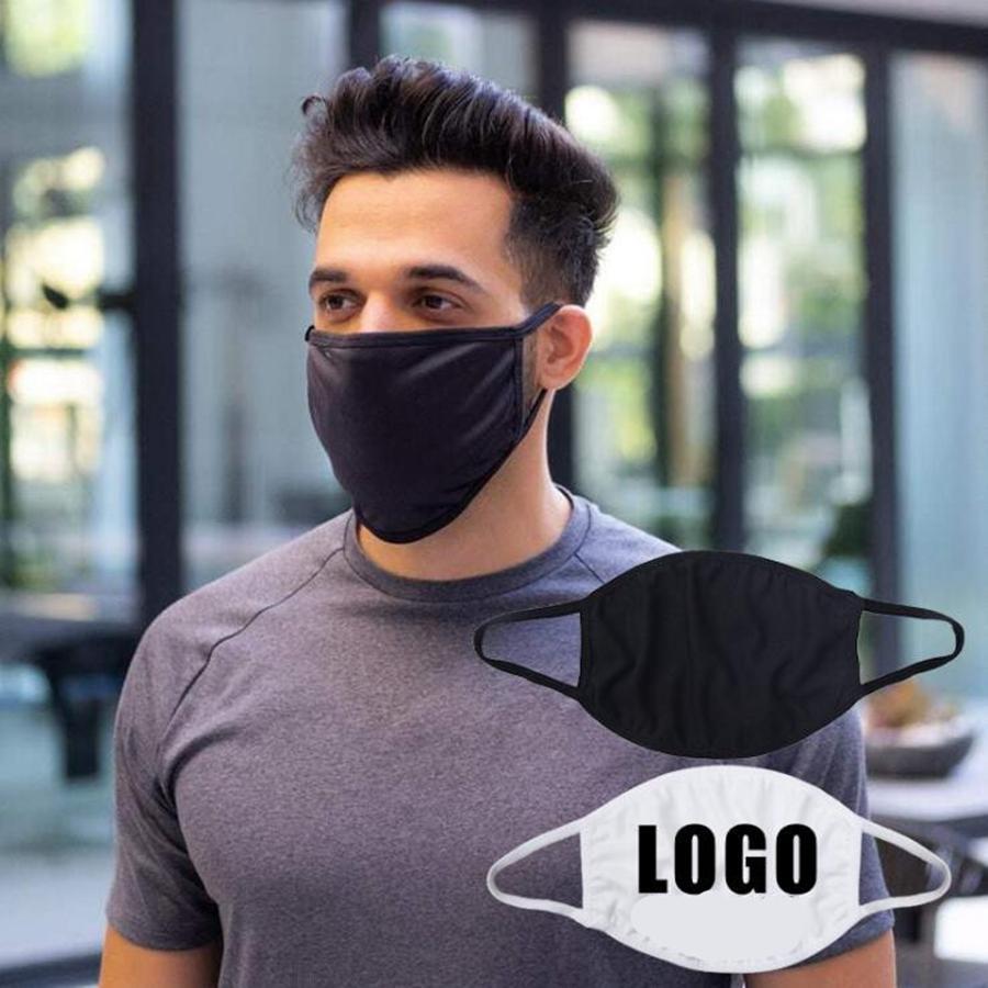 Nero Bianco personalizzabile maschera di cotone lavabile traspirante Bocca Copertina Women Uomini di età all'aperto casuale DDA766 Mask
