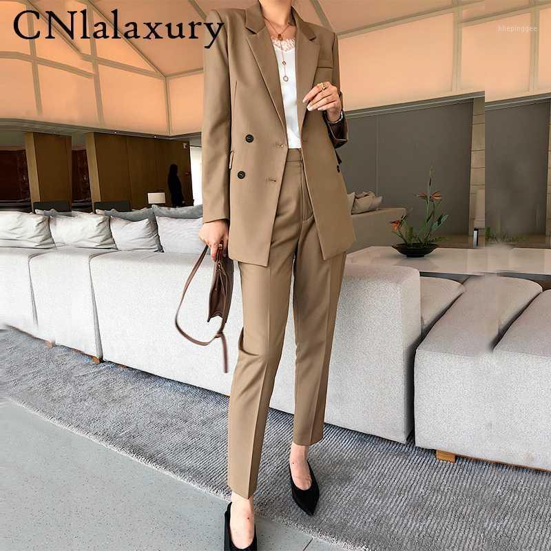 Nuevos elegantes mujeres caqui pantalones trajes de chaqueta de blazer de doble pecho abrigo pantalones de cintura alta vintage 2 piezas de estilo de estilo traje de trabajo1