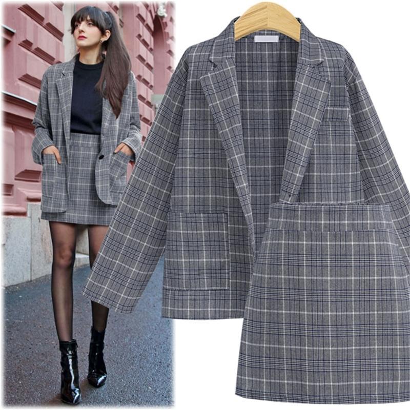 CINESSD 2 Pieces Sets Office Skirt Suits Women Autumn Single Button Notched Plaid Blazer Jackets Slim Mini Skirts Plus Size 4XL 201013