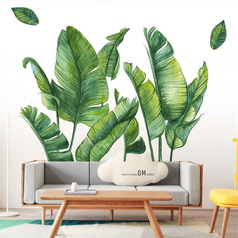 Pegatina de pared de la planta de hoja verde nórdica Playa de palma tropical de hojas de palma de bricolaje Pegatinas de pared para la decoración del hogar Cocina de sala de estar 201130