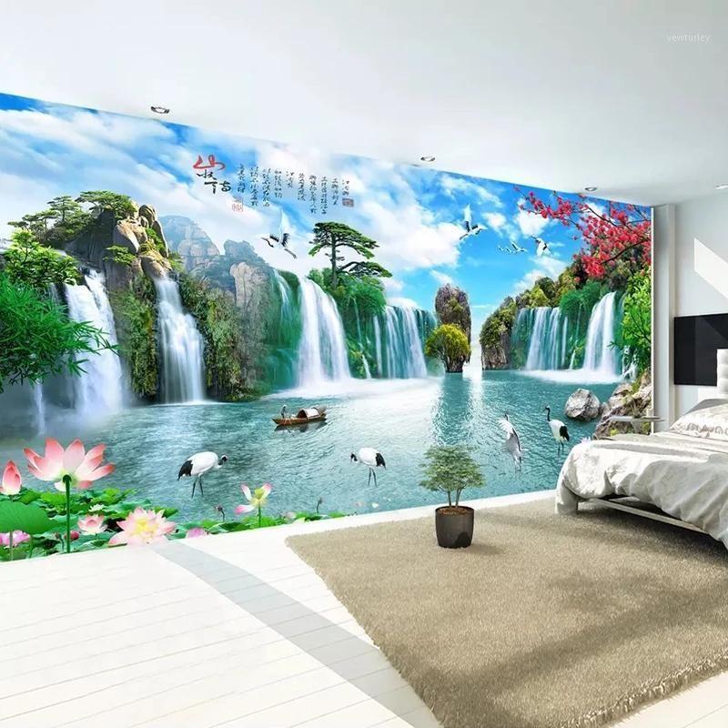 Wallpapers Chinese Style Mountain Water Paisaje Grandes Murales Cascada Custom 3D PO Papel pintado para sala de estar TV Fondo Fondo Mural1