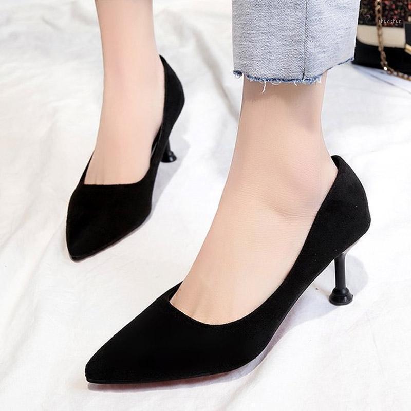 Sapatos de vestido Plus Size 34-43 Escritório Senhora Pontos de Tee De Alto Saltos Faux Suede Barco Preto Básico Bombas para Mulher C77851