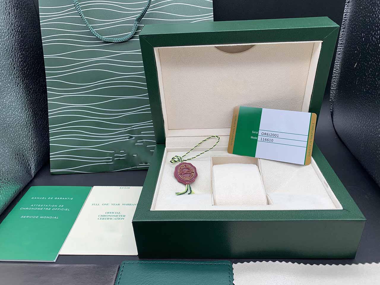 Vente usine de haute qualité nouveau style vert montre Purse boîte originale carte papiers Caisses en bois cadeau sac à main pour 116610 116660 Montres Case