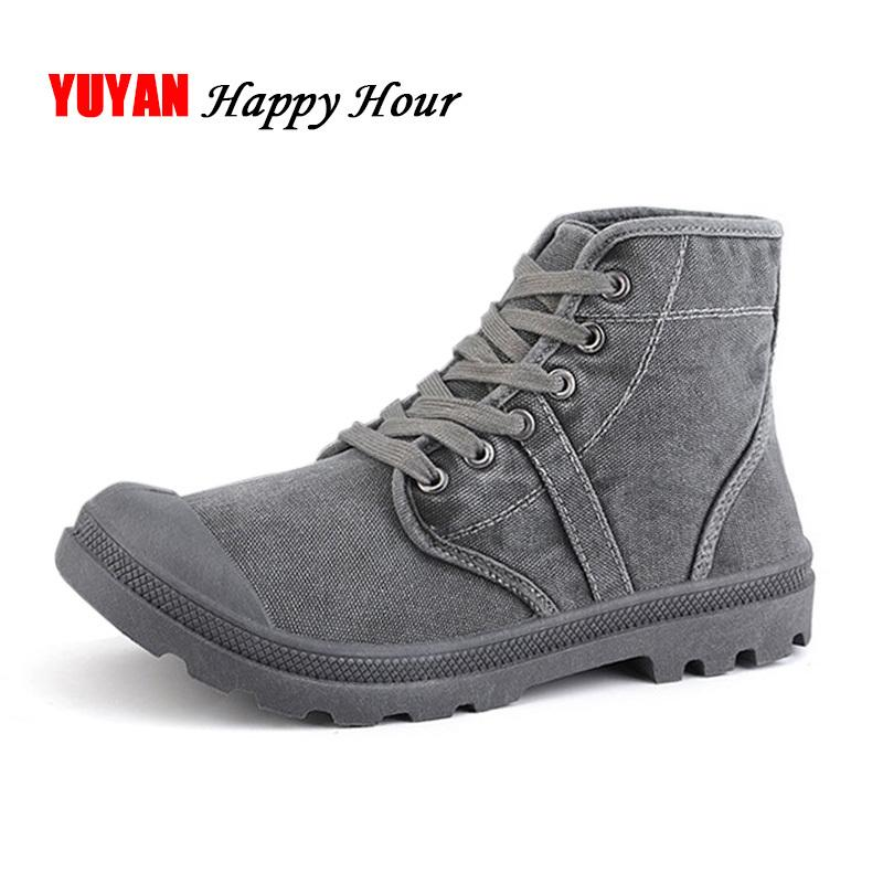 Autumn Early Winter Boots Men Canvas Shoes High top Casual Shoes Fashion Men's Boots Male Brand Ankle Botas 200928