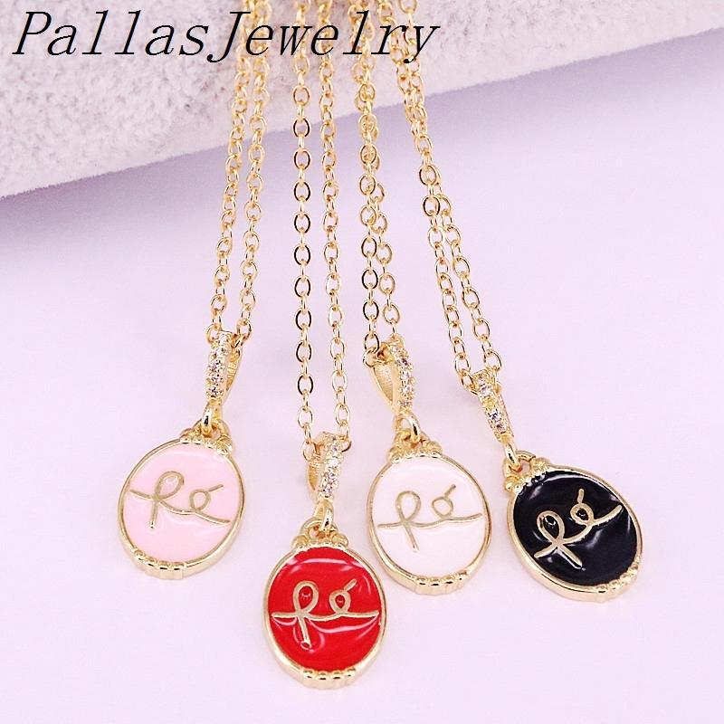 10 pcs Últimas jóias douradas de moda charme pingente colares esmalte oval colar para as mulheres y1220