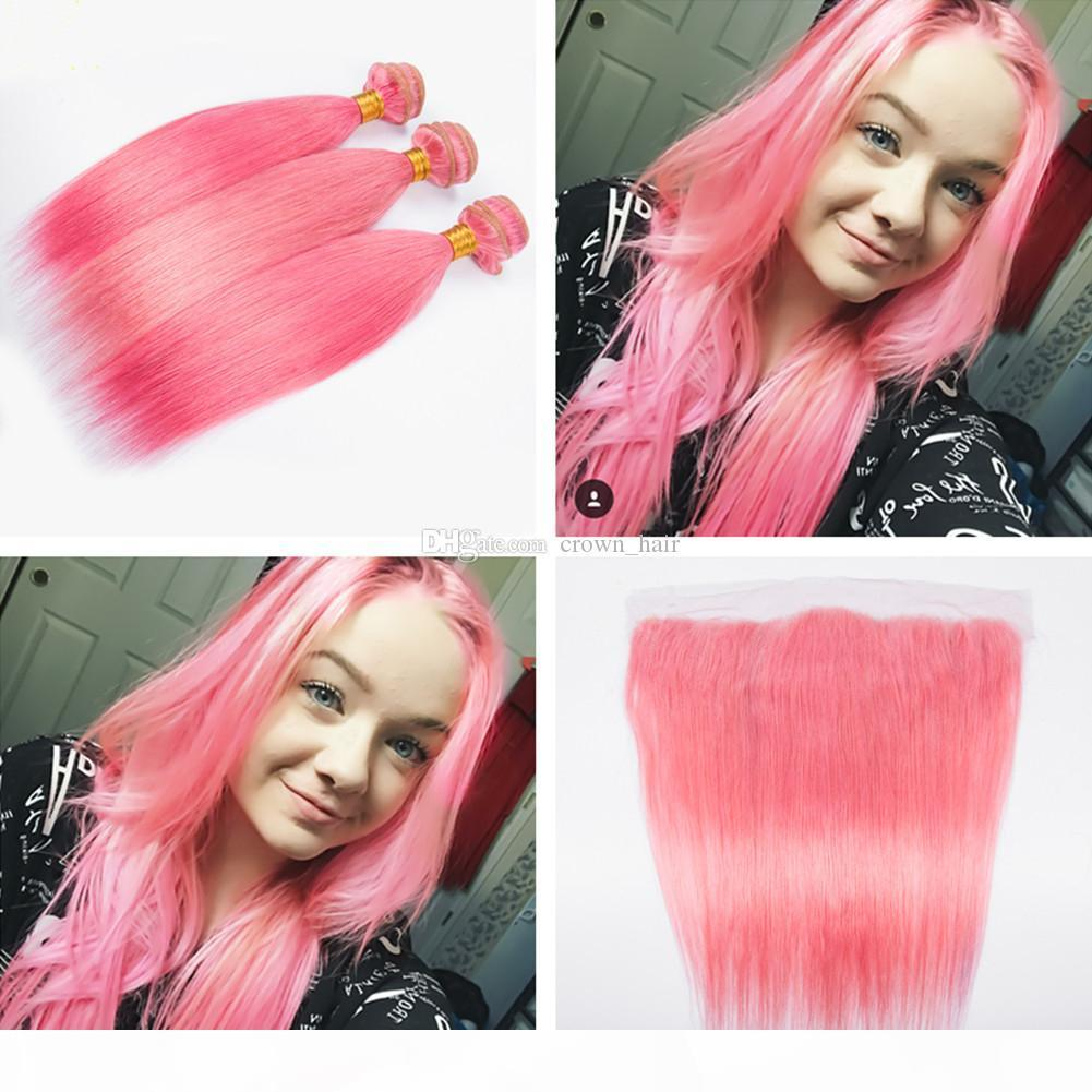 Popular Colored Pink Silky Straight Hair Weaves With Lace Frontals 4Pcs Lot Straight Ear To Ear Frontal With pink Hair Bundles 4pcs lot