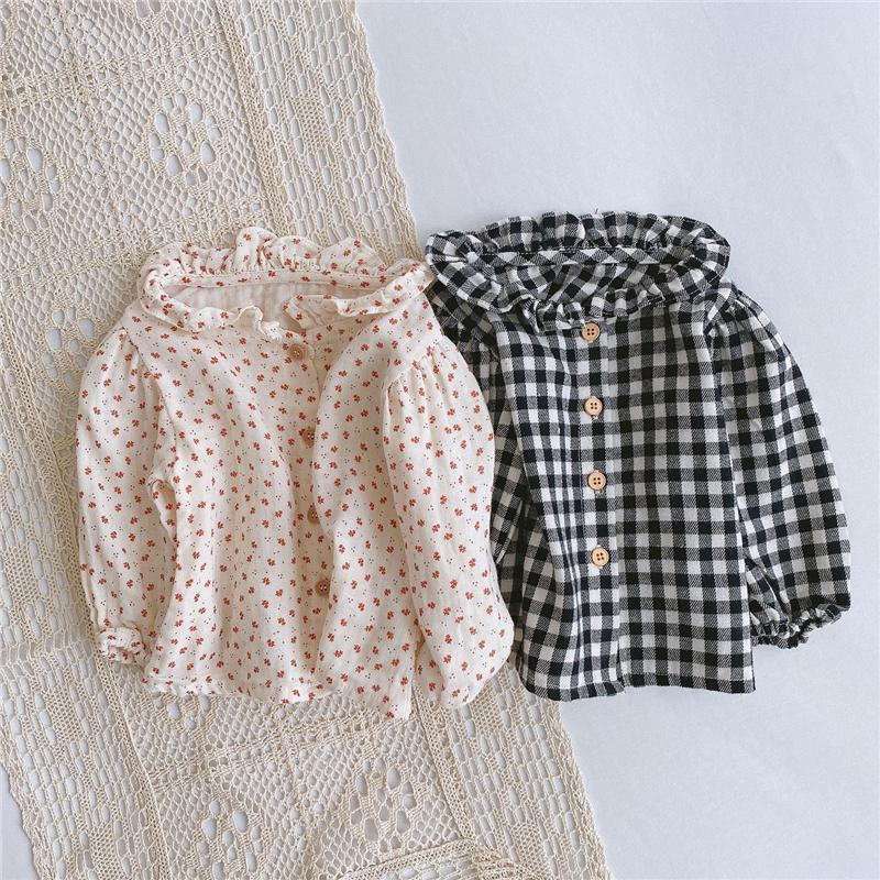 Baby Kids Girls Plaid Shirts Floral Blouses Newborn Tops Front Buttons Designer Fashions Quality Baby Tshirts Shirts for 0-2T
