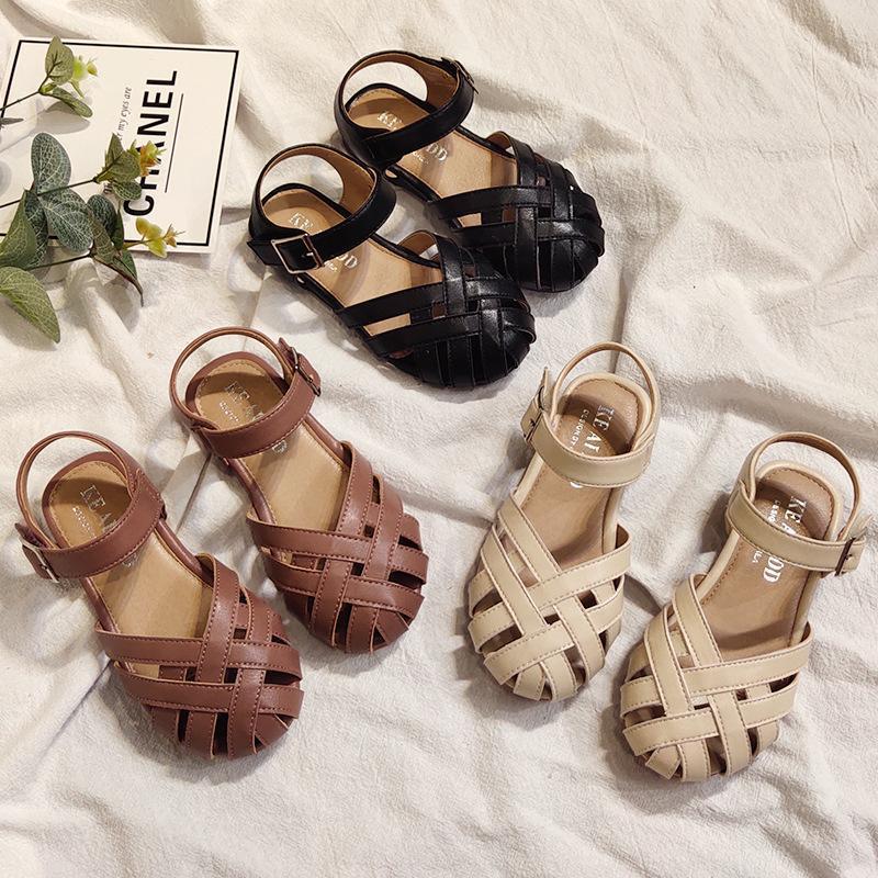 Filles Sandales creux Princesse Chaussures Crochet boucle d'enfants Sandales en cuir Weaving Chaussures d'été fermé Plage Toe Sandalias 15-37 #