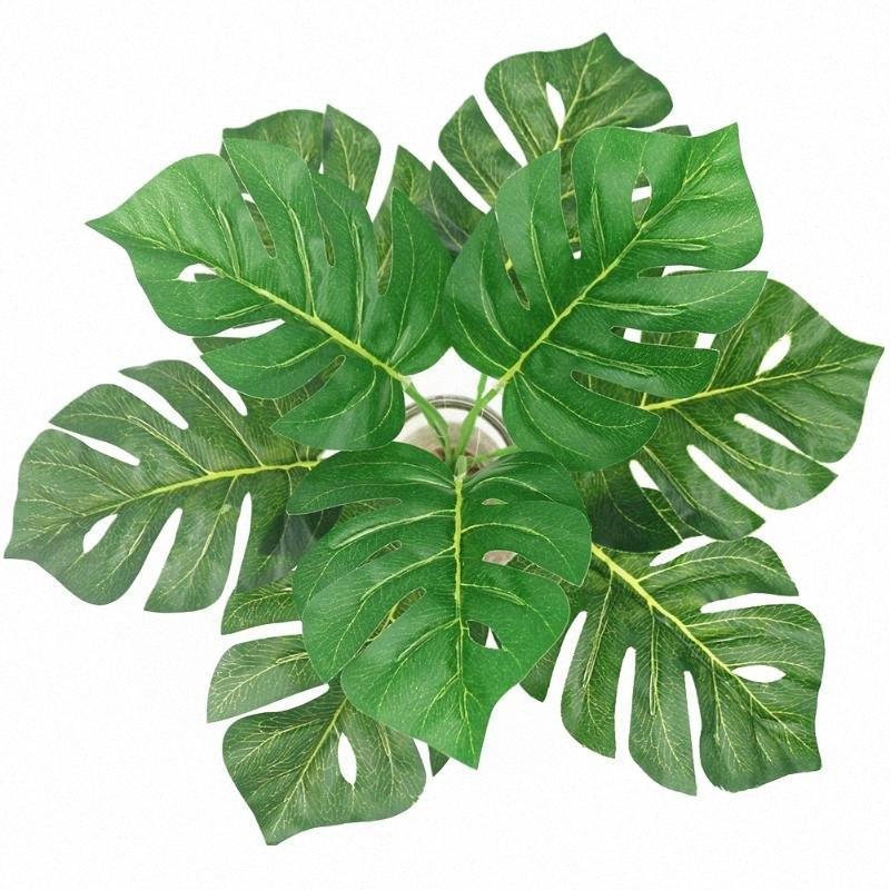 Artesanat mur en plastique feuilles artificielles Fournitures de mariage de simulation du Parti Vert Plantes Faux Herbe Nature Jardin Décoration ItNU n