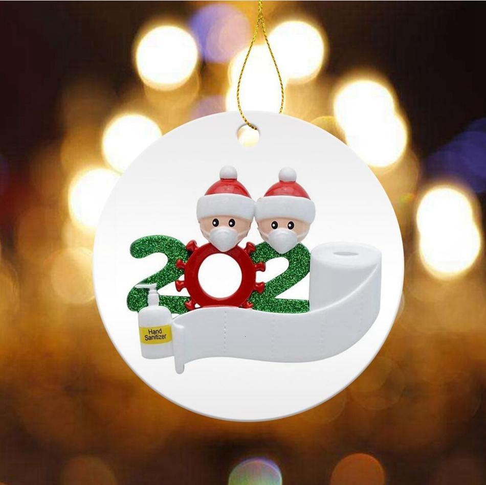 Ronde 2020 Quarantine famille de Noël Ornement de bricolage Carte céramique Arbre de Noël de Santa Hanging Party Pendentifs Décoration TRANSPORT MARITIME LJJP540WKHR