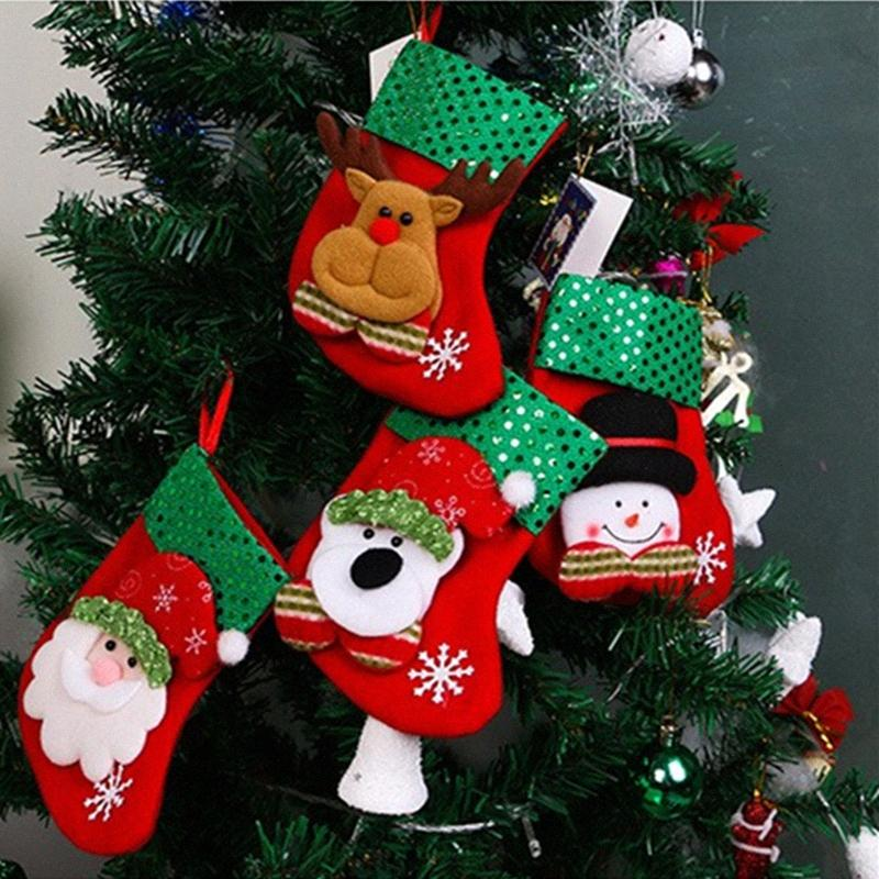 4pcs Bas Père Noël Bonhomme de neige Elk Ours Sequin Sacs cadeaux de Noël Pendentif Nouvel An Cadeaux de Noël pour la maison Decrotions sXR2 #