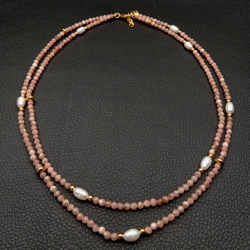 """2 filas natural tallado alrededor Rosa Rodocrosita cultivadas de arroz blanco collar de perlas de 17"""" 0927"""