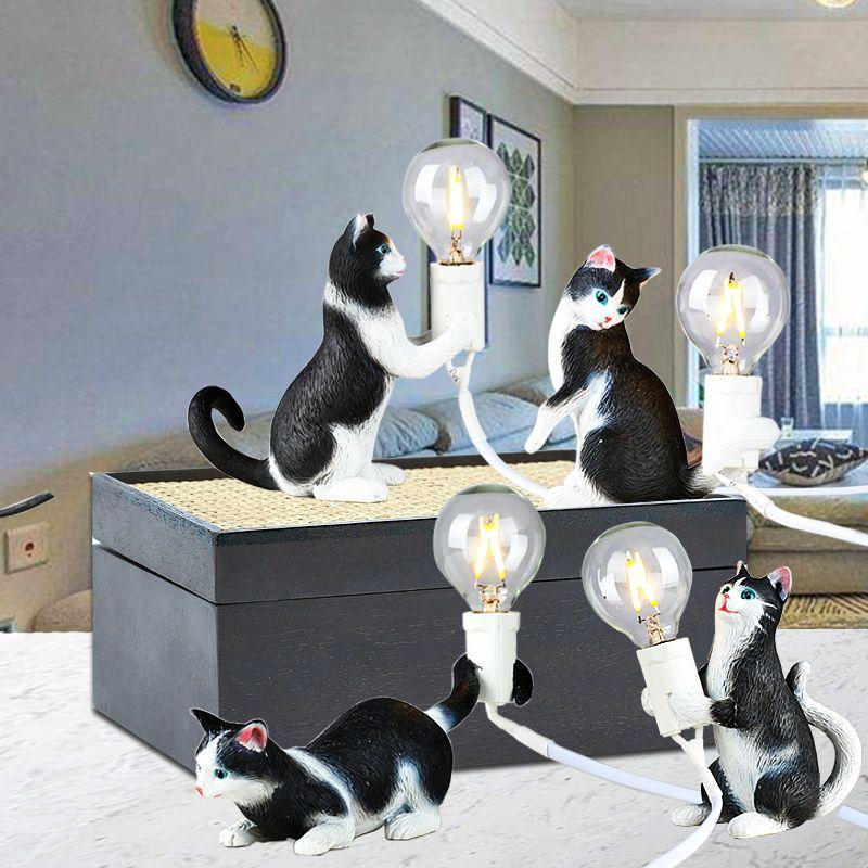 Nordic Mini Led Night Lamp Night Creative Animal Table Light Children's Room Bedside Cat Tavolo Lampada da tavolo Studio Della Camera da letto Decorazione della camera da letto Small Desk Lamps