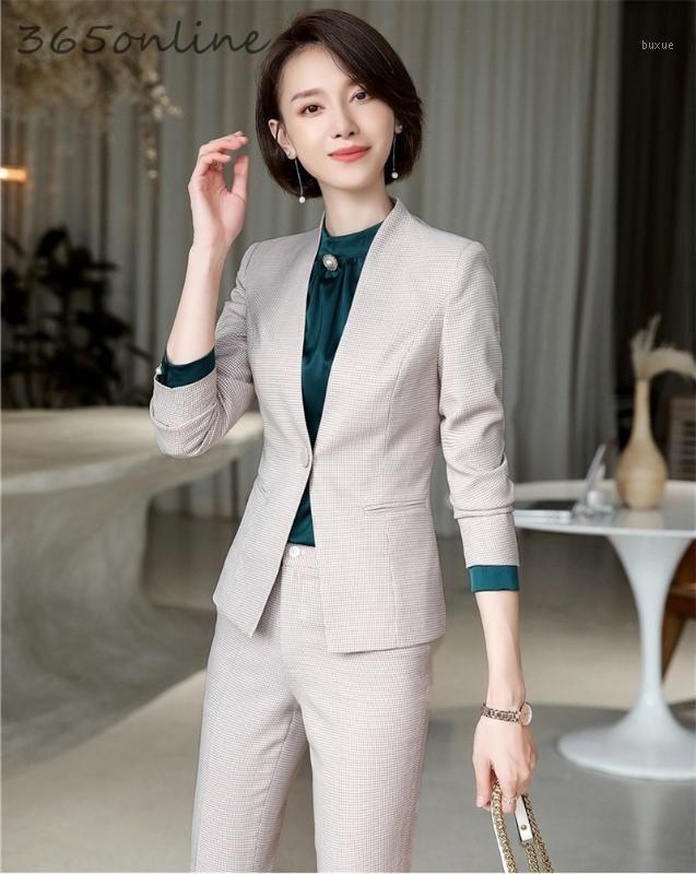 Новинка Абрикос формальные формы дизайна брюки с брюками и куртками Пальто для женщин бизнес работа профессиональные блейзеры наборы1