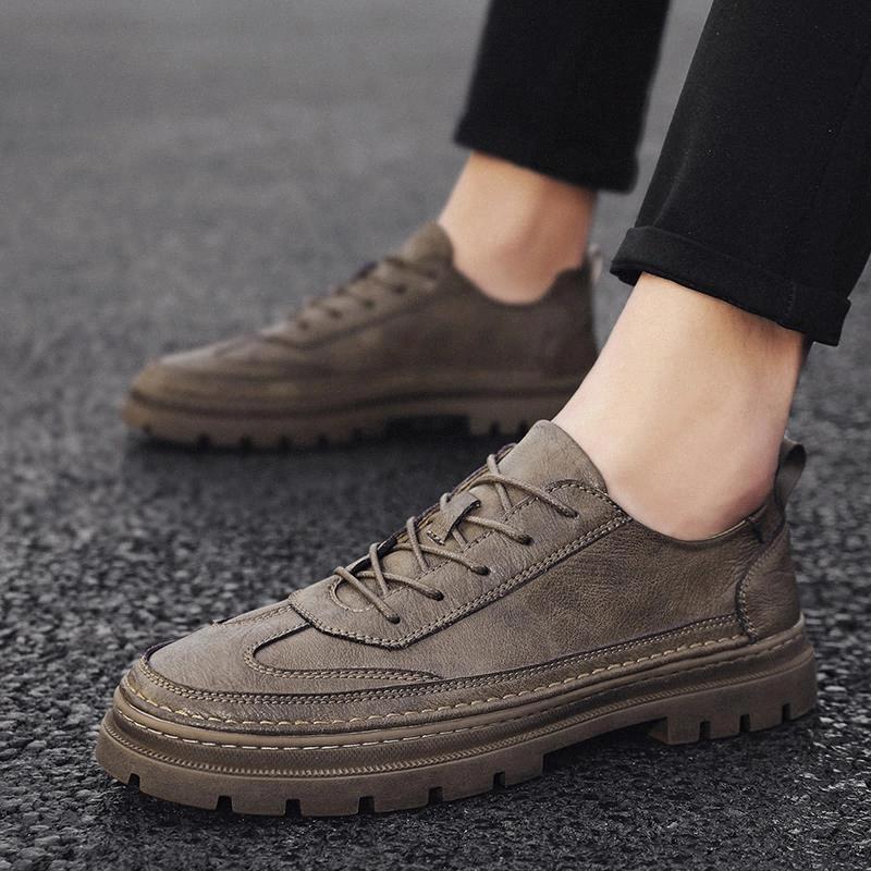 Couro Men Sapatos Casuais Lace Up Moda Flats Masculinos Marca Mens Oxfords Confortáveis Homens Blackdress Busniess Sapatos Homens # TD59