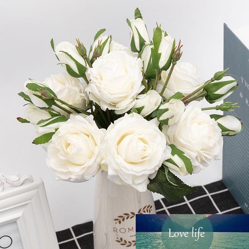 belle grande rose artificielle fleurs latex branche 2 contact réel bourgeon fleurs faux mariage pour blanc décoration de Noël maison