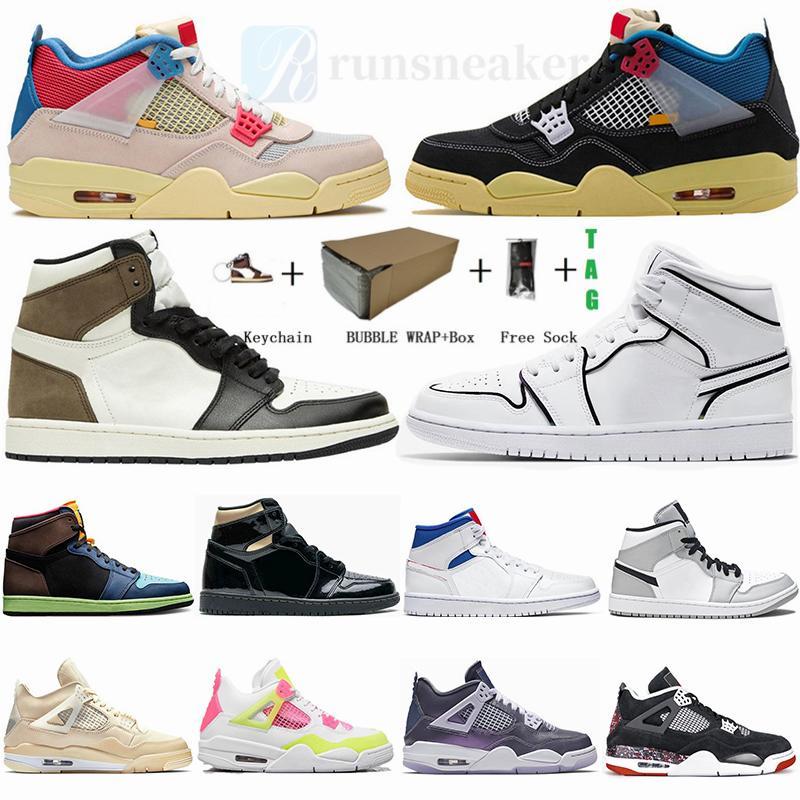 أحذية جديدة Jumpman 4 نوير الجوافة الجليد الشراع صبار جاك 4S الرجال لكرة السلة مع صندوق الحجم 36-47 1 1S الظلام موتش ترافيس سكوتس مان المدربين حذاء رياضة