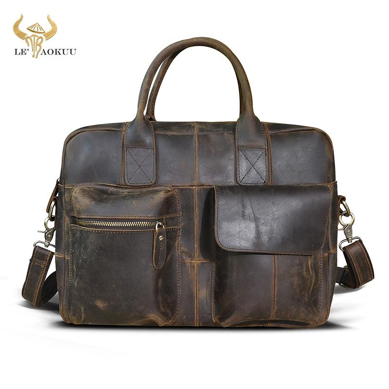 HBP Natural leather Men Vintage Handbag Business Briefcase Commercia Document Laptop Case Male Attache Portfolio Tote Bag b331 Q0112