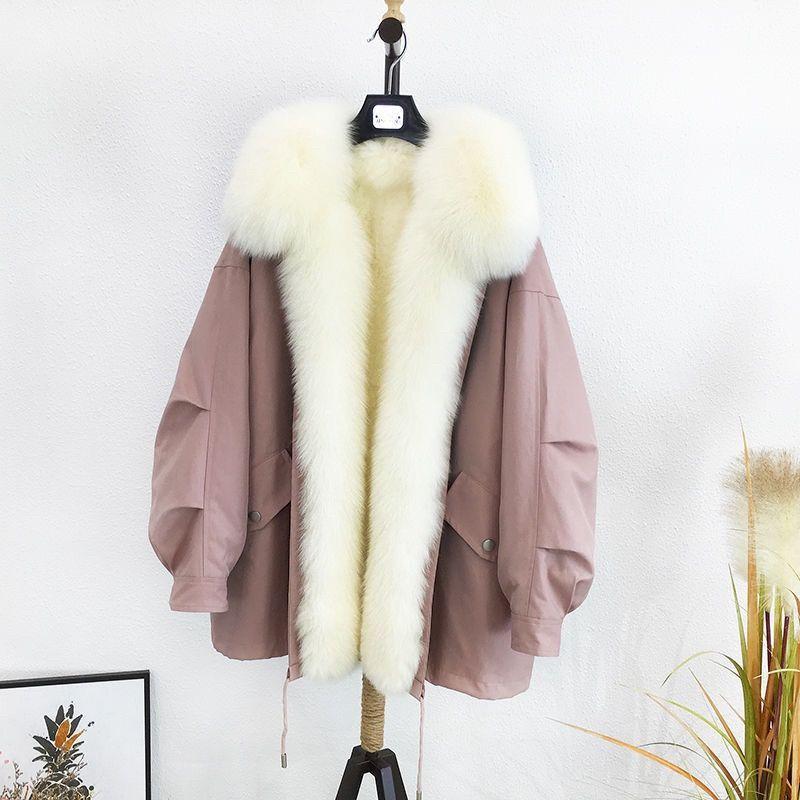 Kadınlar 2020 Kış Moda Ayrılabilir Sahte Liner Parker Ceket Coat Kadın Kalın Dış Giyim Büyük Faux Kürk paltolar Parkas Isınma
