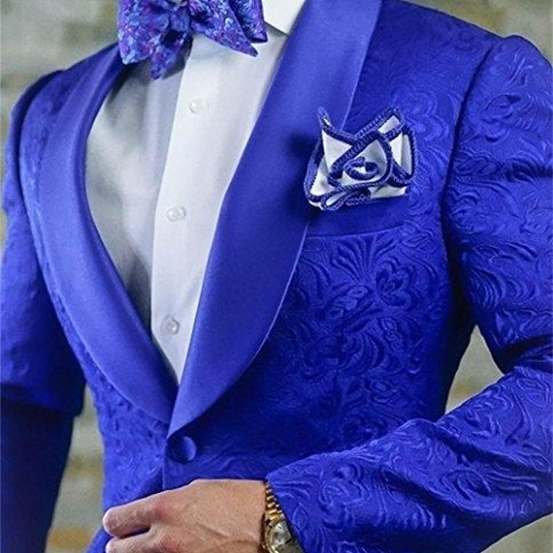 Nova Chegada Royal Blue Floral Homens Ternos para Wedding Mais Recente Designs Groom Tuxedos Shawl Lapel Terno Homens Groomsmen Melhor Homem Blazer Y201026