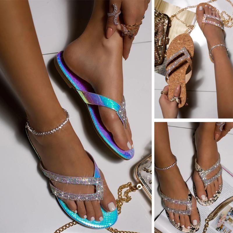 Sandálias de praia de verão sandálias femininas de cristal casual flip flip flops outdoor street sliders feminino plataforma home chinelos1