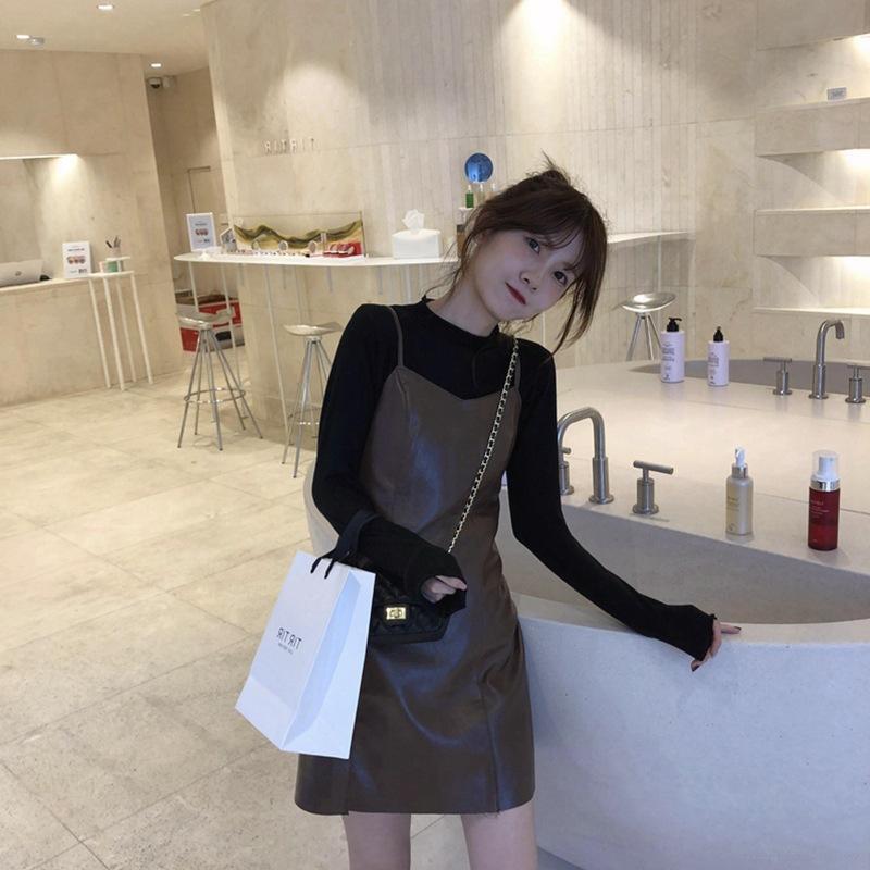 Celebridade on-line 2020 Outono novo estilo de manga comprida superior Garment + Amarrado Vestido Hyun yf saia de couro Outer Wear Two Pieces F