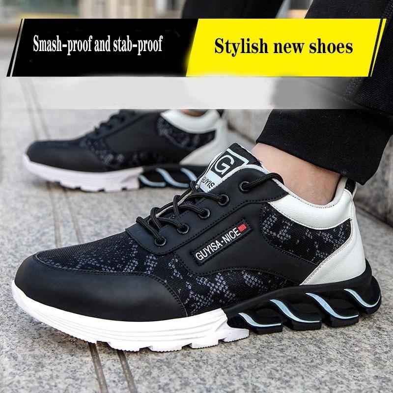 Chaussures de sécurité à embout en acier-été de nouveaux hommes sont légers, perméable à l'air, smash à l'épreuve et de la lame increvables chaussures de sécurité