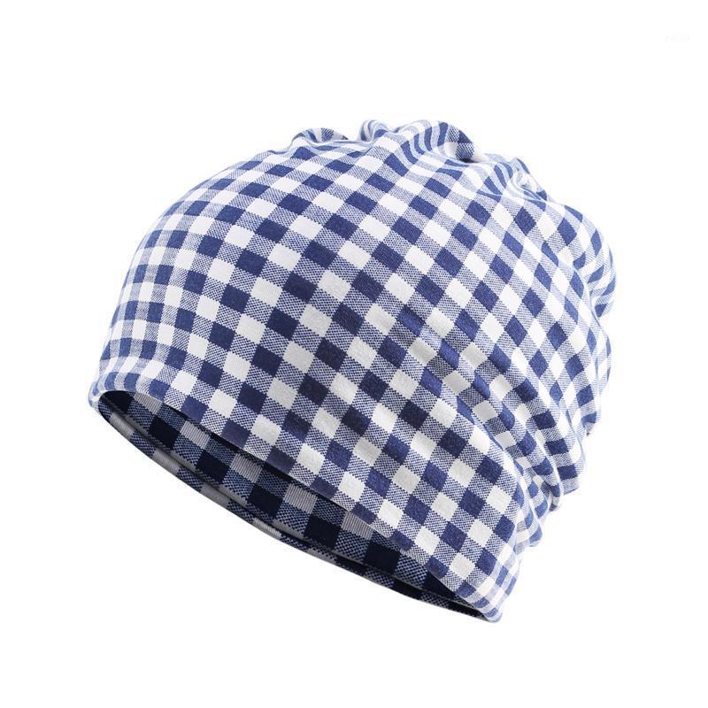 Beanies kadın kapaklar kapüşonlu şapka moda ekose şerit ince sıcak kadın sonbahar ve kış önlüğü çift amaçlı beanie1