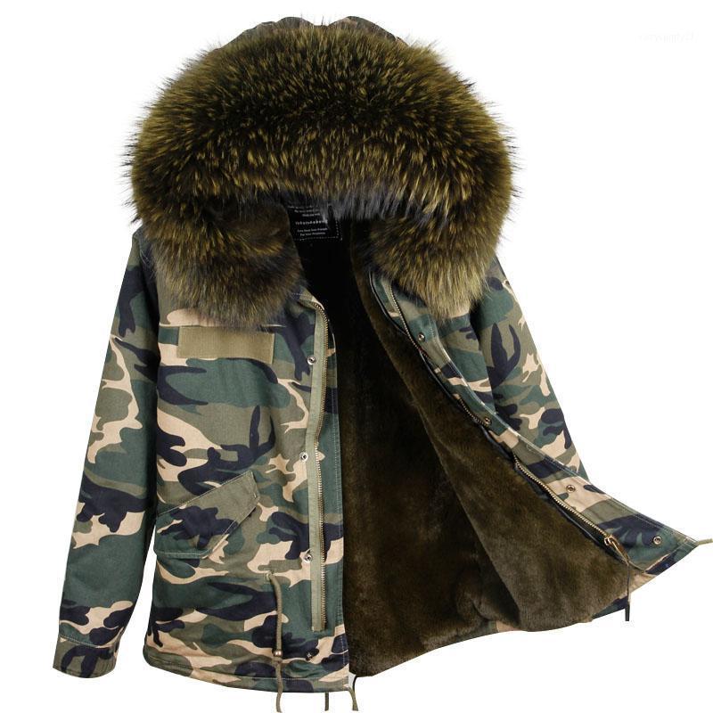 Женский меховой FUX 2021 мода женская зимняя камуфляж пальто короткий длинный лайнер леди мистер стиль настоящий енот воротник куртка1