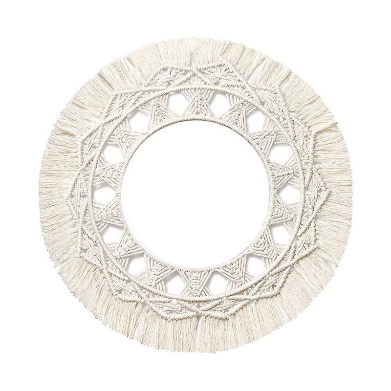 Macrame espejo de pared colgante con franja Boho redonda decorativa para el dormitorio de apartamento decoración de sala de estar (sin espejo)
