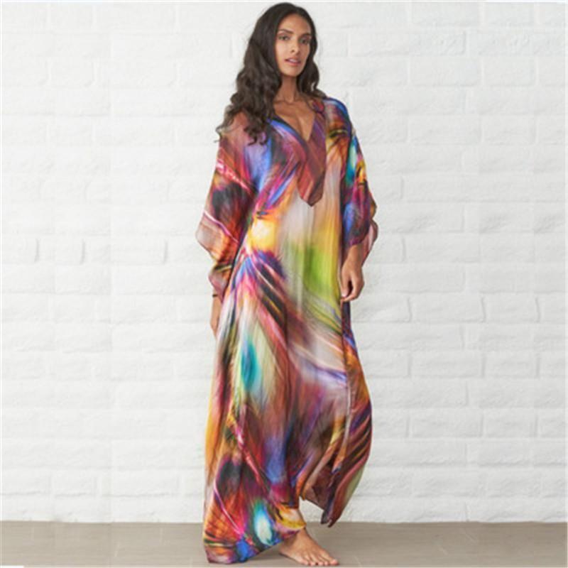 Пляж костюмам тенденции моды Плюс Размер Casual V шеи платье с длинным рукавом Мужской Contrast Цвет платья Одежда Женщины Сыпучие