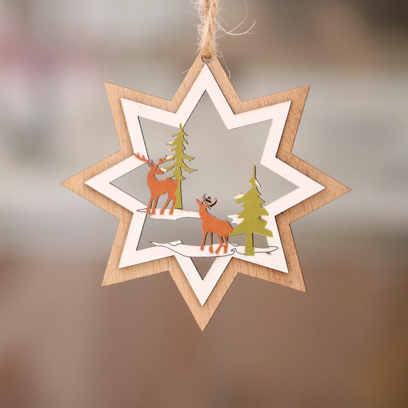 Los fabricantes que venden decoraciones de madera de Navidad árbol de Navidad hueco pequeño colgante de madera de cinco puntas estrella de campana colgante de regalo de interior