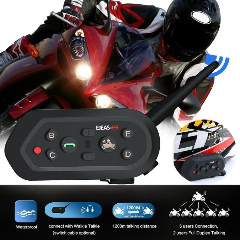 Мотоцикл Walkie-Talkie Headset Открытый Полнодуплексный в режиме реального времени Беспроводной шлем Домофон гарнитура E6