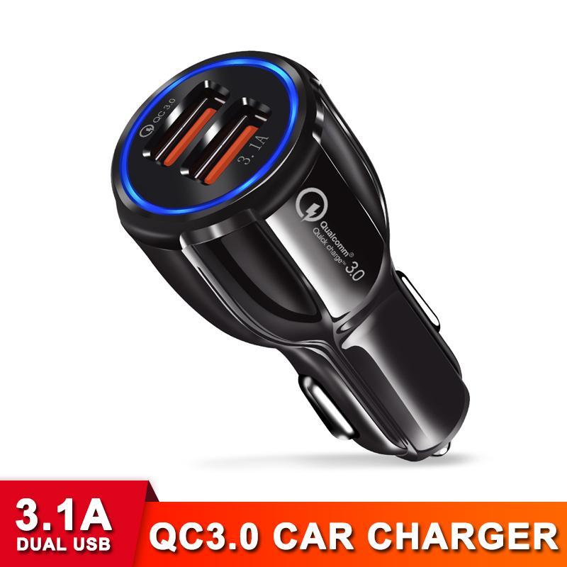 QC3.0 3.1A USB 자동차 충전기 휴대 전화 태블릿 GPS 3A 빠른 충전 듀얼 USB 자동차 전화 충전기 iPhone 삼성 S9 Xiaomi QC3.0 충전기
