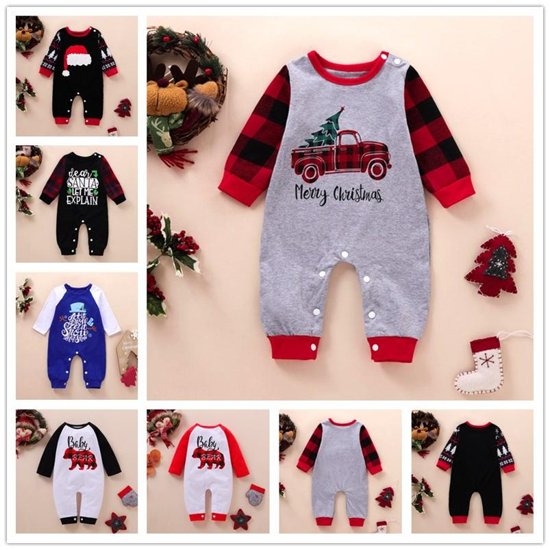 Christmas Baby pagliaccetti Xmas Tree Cartoon maniche lunghe tuta appena nato delle ragazze dei pantaloni di un pezzo del bambino infante del pagliaccetto Outfit E102202