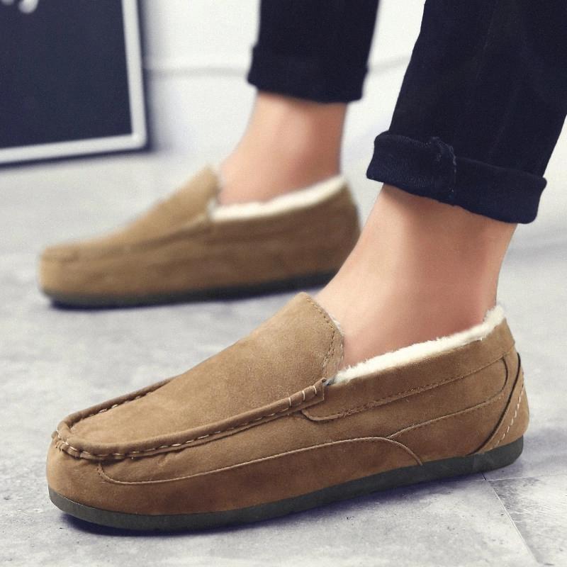 Nuovi uomini invernali scarpe casual caldi neve uomo slip-on sneakers moda maschile europe classici mocassini antiscivolo a basso taglio # ri6v