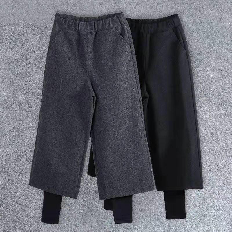 Frauen Hosen Capris 2021 Frauen Elastische Taille Wolle Fake Zwei Hosen Dicke Strickweite Bein Herbst Winter Lose Y118