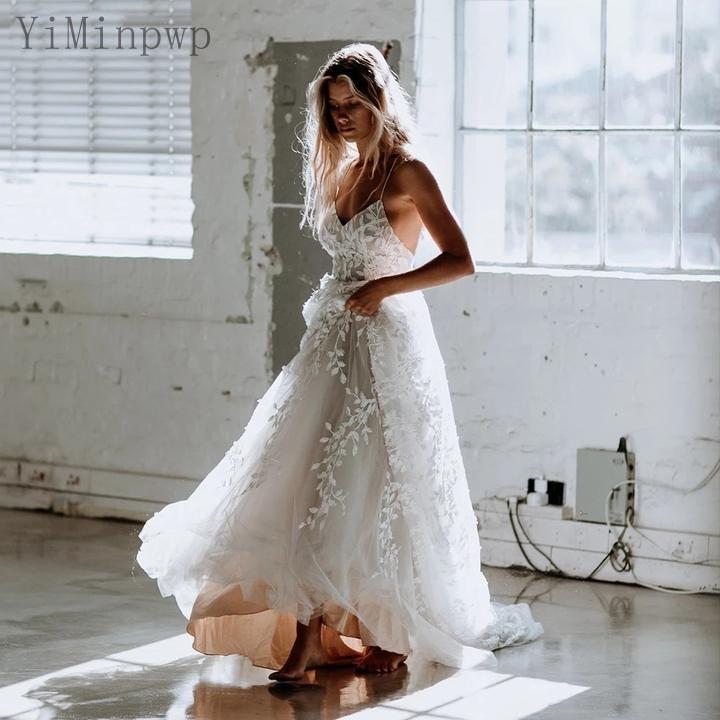 Lace Wedding Dresses Spaghetti Backless Sweep Train A Line Appliques Beach Country Bridal Gowns robes de mariee vestidos de novia Plus Size