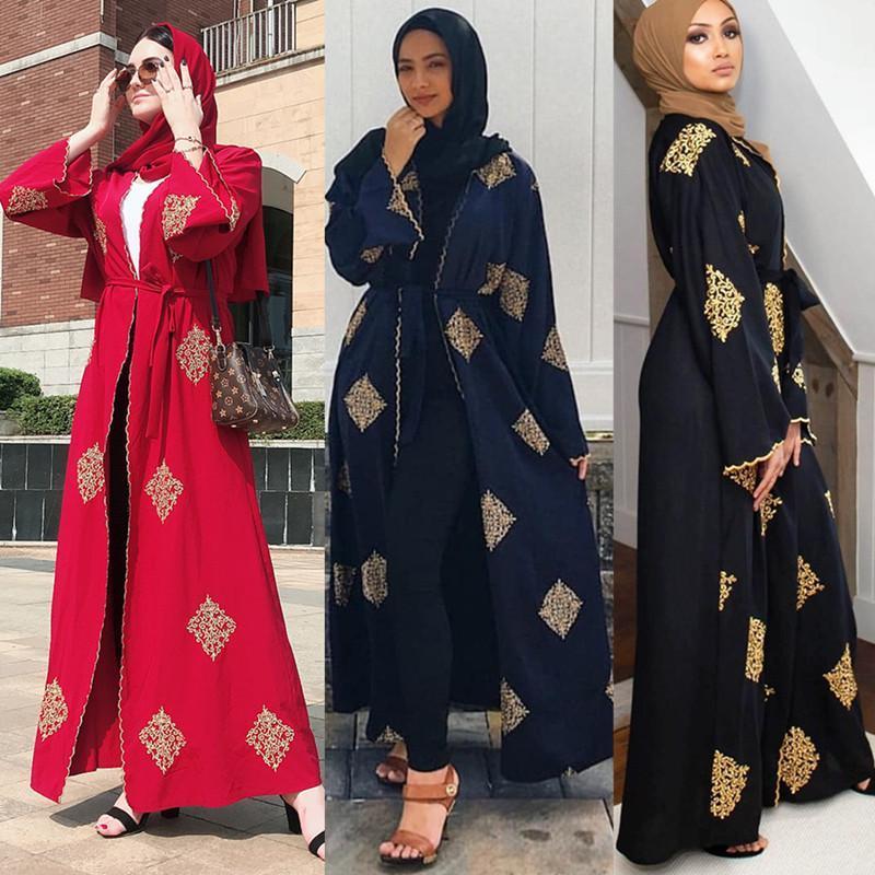 2021 Müslüman Abaya Dantel Kolaj Hırka Robe Ramazan Orta Doğu Thobe Popüler Arap Turkey Malezya Abaya Fash
