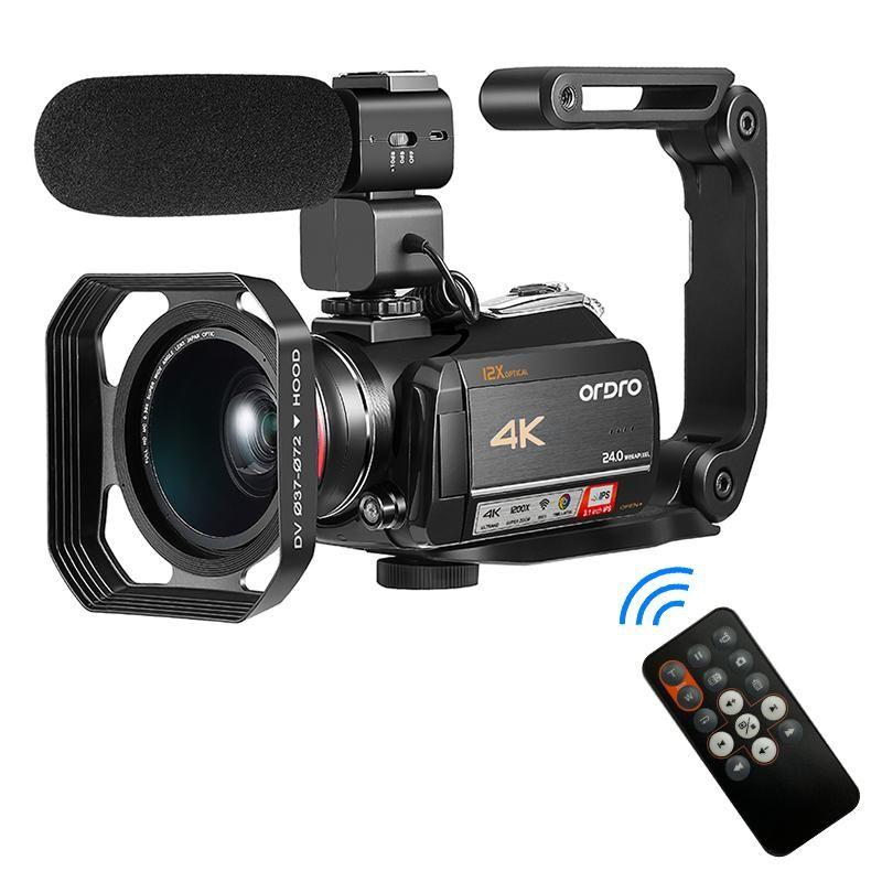 Videocamera 4K Camcorder Vlogging Camera Fotocamera WiFi YouTube Braodcast Video Ordro AC5 12x Optical Zoom Camara Filmadora Profissionale