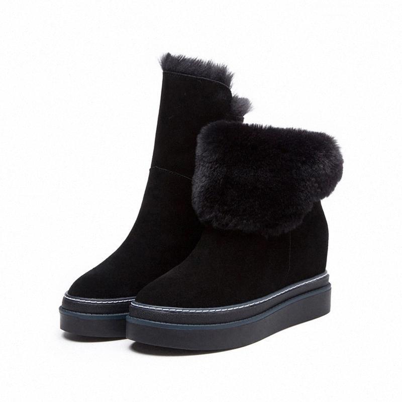 2020 Натуральная кожа зимние клинья меховые теплые плюшевые лодыжки снежные ботинки с платформой низкие каблуки короткие пинетки женщины плоская обувь # 2M6W