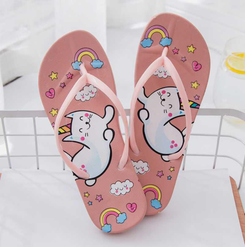 Verano lindo dibujos animados mujeres chanclas chicas fondo plano antideslizante antideslizante baño baño zapatillas para el hogar zapato de playa al aire libre femenino