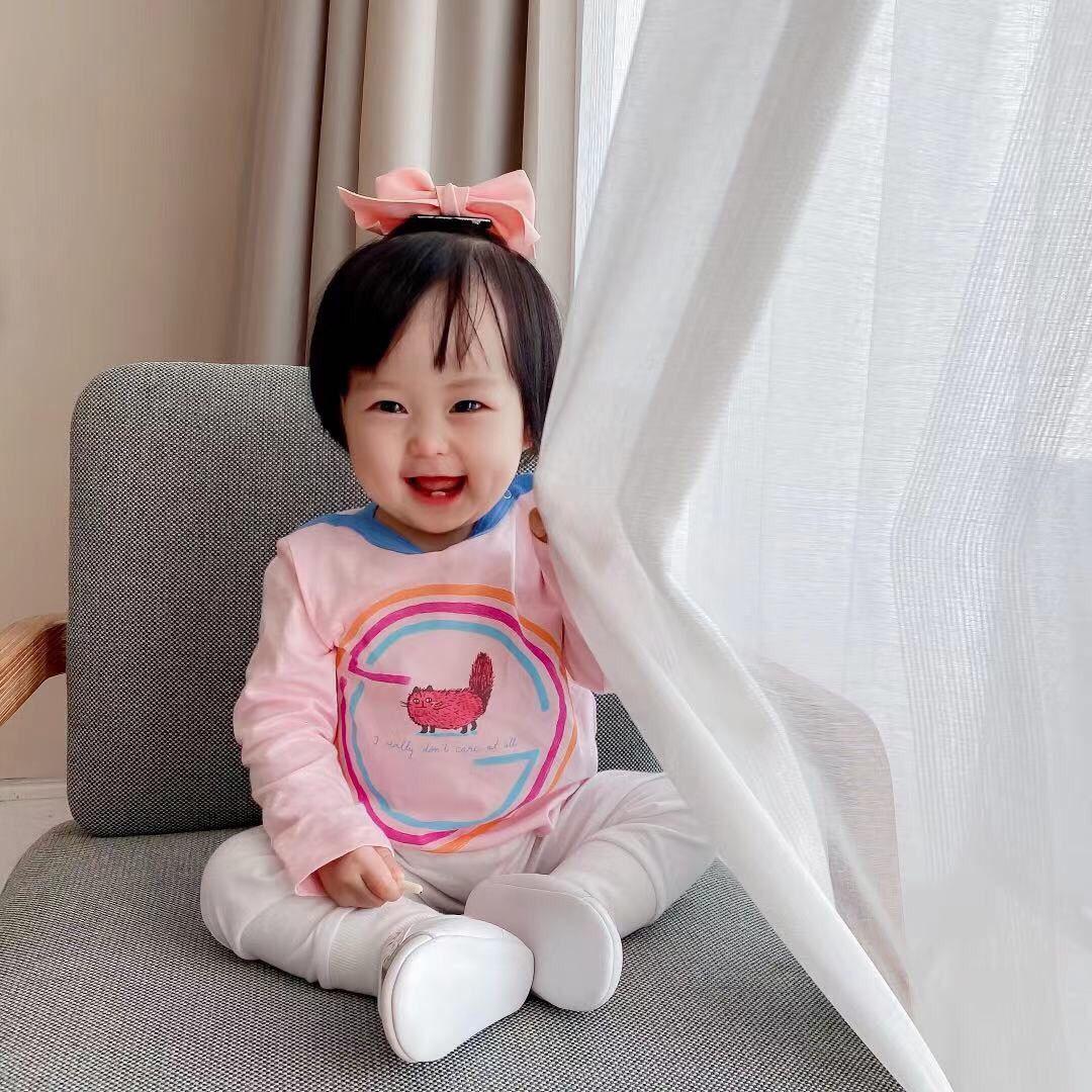 مقارنة مع العناصر المماثلة جودة عالية 6-36month ربيع الخريف الطفل أطفال طفل الفتيات الملابس رياضية مجموعات الوردي كم طويل لطيف قمم طويلة