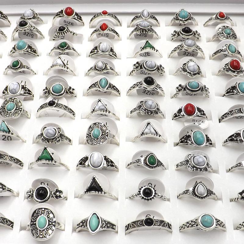 50 pcs Antique Cor Prata Anéis de Estilo Vintage com pedras mistas para as mulheres Y1107