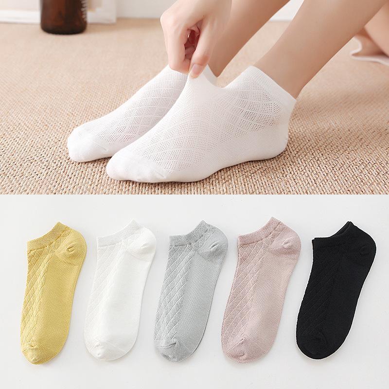 Primavera e verão novo algodão fino bolsa de bolsas de cor sólida mulheres meias de cor