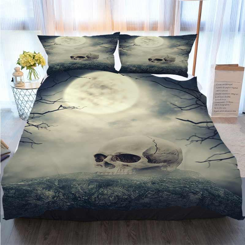 3pcs Bedding Cotton Set Super King Duvet Cover Set Human Skull On The Stone Against Spooky Sky Quilt Bedding Comforter Bedding Sets
