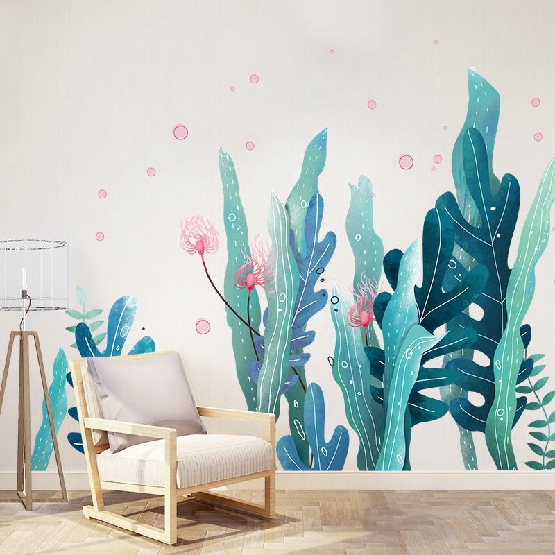 [Shijuekongjian] Pegatinas de pared de algas marinas DIY Marine Planta Vinilas de pared para la sala de estar Dormitorio para niños Accesorios de decoración de la casa 201130