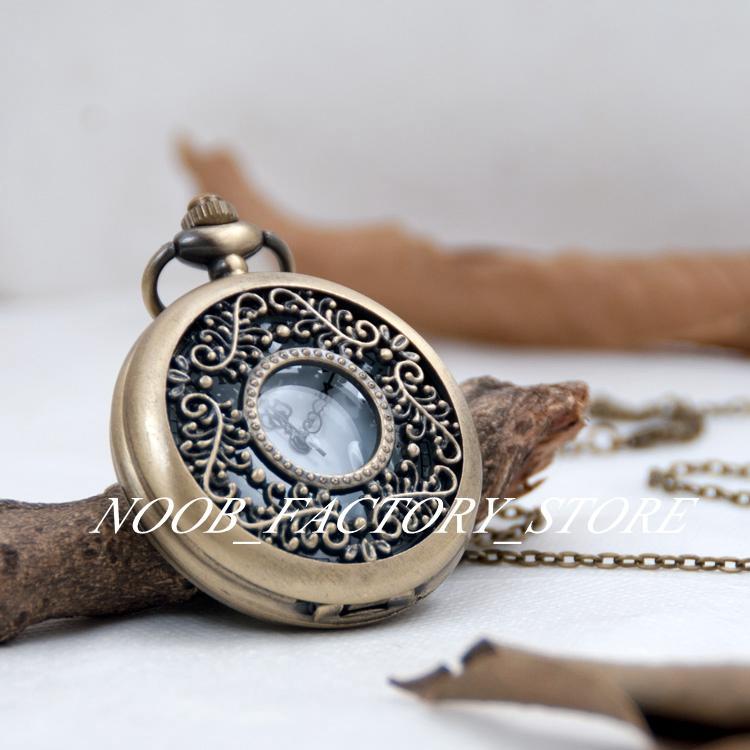 Neue Quarz Bronze Edelstahl Lünette Große Taschenuhr Vogel Paradies Retro Taschenuhr Halskette Pullover Kette Mode Uhr Schmuck