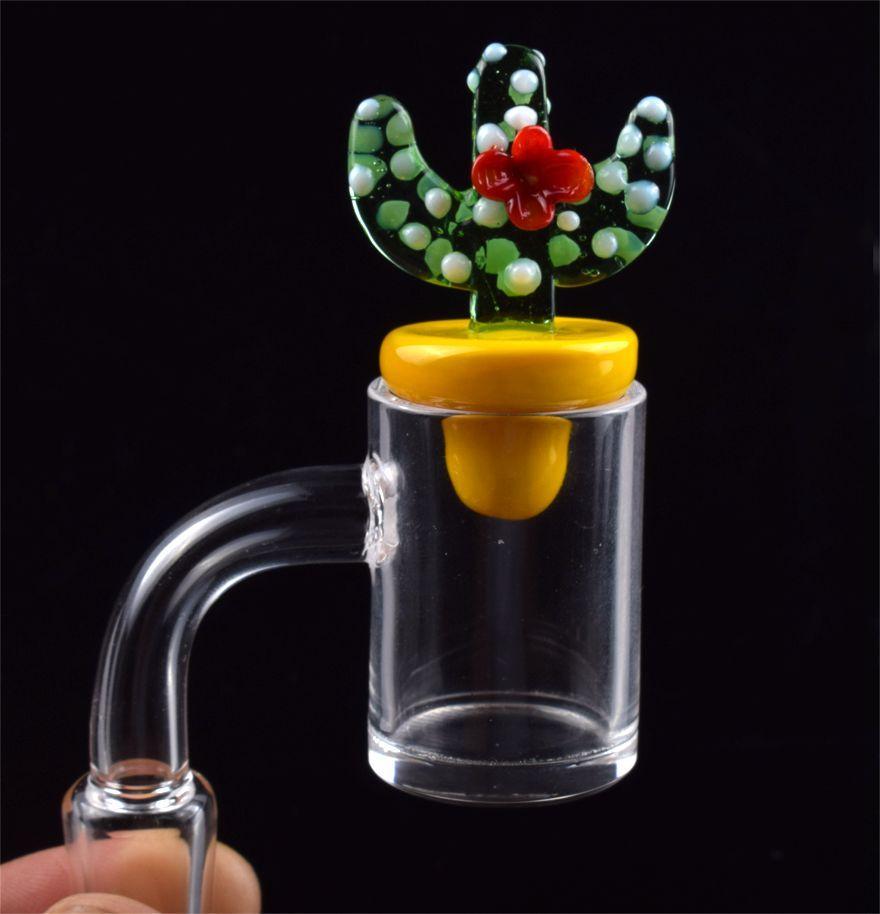 Définir Quartz Banger Nail Cactus Cactus Duck Casquette Casquette 10mm 14mm 18mm Femelle mâle pour tuyaux d'eau de verre Bongs Huile Plateaux