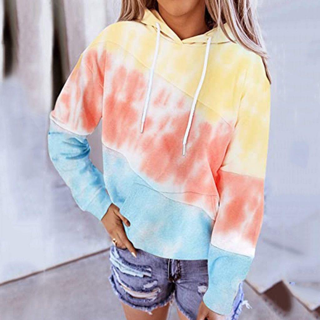 w9vjR femmes tie dye lâche de manches longues à capuche imprimé imprimé tie dye lâche de femmes pull pull hq0129 longue hq0129 manches sweaterhooded